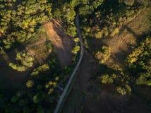 Vogelperspektive der Asphaltstraße, des Bauernhofes und des Waldes an der Dämmerung Stockbilder