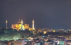 Vogelperspektive der blauen Moschee nachts, Istanbul Stockfotografie
