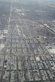 Vogelperspektive der Chicago-Stadtlandschaft nach Schneefällen stockfoto