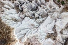 Vogelperspektive der felsigen Landschaft in Cappadocia lizenzfreie stockfotos