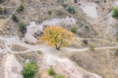 Vogelperspektive der felsigen Landschaft in Cappadocia stockfoto