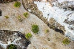 Vogelperspektive der felsigen Landschaft in Cappadocia lizenzfreies stockbild
