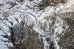 Vogelperspektive der felsigen Landschaft in Cappadocia stockfotografie