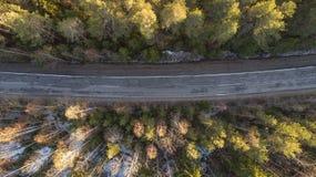 Vogelperspektive der Frühlingslandstraße im Wald der gelben Kiefer mit Schnee in ländlichem Russland stockbild