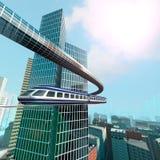Vogelperspektive der futuristischen Stadt Stockbilder