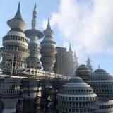 Vogelperspektive der futuristischen Stadt Stockbild