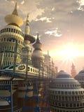 Vogelperspektive der futuristischen Stadt Stockfotos