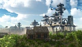 Vogelperspektive der futuristischen Stadt mit Fliegenraumschiffen Stockfoto