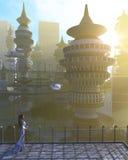 Vogelperspektive der futuristischen Stadt mit Fliegenraumschiffen und Fantasiefrau Lizenzfreies Stockfoto