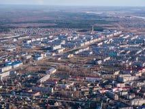 Vogelperspektive der kleinen Stadt Lizenzfreie Stockfotos