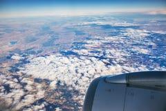 Vogelperspektive der Landschaft vom Flugzeug nahe Madrid Lizenzfreie Stockfotografie