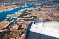 Vogelperspektive der Landschaft vom Flugzeug nahe Madrid Stockfoto