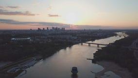 Vogelperspektive der Mitte von Warschau stock video footage