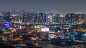 Vogelperspektive der Nachbarschaft Deira mit typischem Geb?udenacht-timelapse, Dubai, Arabische Emirate stock video footage