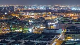 Vogelperspektive der Nachbarschaft Deira mit typischem Geb?udenacht-timelapse, Dubai, Arabische Emirate stock footage