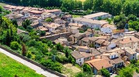 Vogelperspektive der niedrigen Stadt von Carcassonne Lizenzfreie Stockfotografie