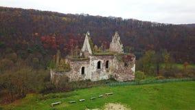Vogelperspektive der Ruinen der Kirche von der Annahme von Jungfrau Maria Ternopil Region ukraine stock video footage