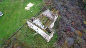 Vogelperspektive der Ruinen der Kirche von der Annahme von Jungfrau Maria Ternopil Region ukraine Beschneidungspfad eingeschlosse stock video