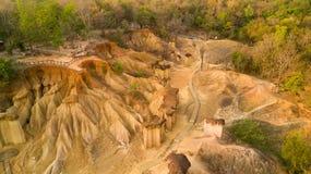 Vogelperspektive der Sandsteinabnutzung Stockfotografie
