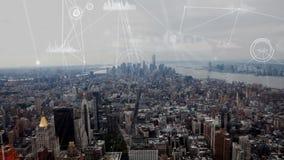 Vogelperspektive der Stadt mit bewegenden Datenverbindungen lizenzfreie abbildung