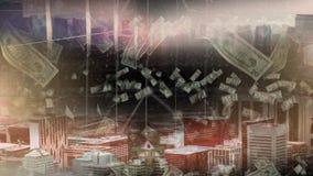 Vogelperspektive der Stadt mit dem Geld, das unten fällt lizenzfreie abbildung