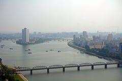 Vogelperspektive der Stadt, Pjöngjang, Norden-Korea stockfotografie