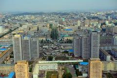 Vogelperspektive der Stadt, Pjöngjang, Norden-Korea Lizenzfreie Stockfotografie