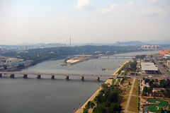 Vogelperspektive der Stadt, Pjöngjang, Norden-Korea Stockfotos