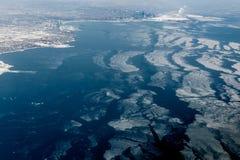 Vogelperspektive der Stadt in Ufergegend, Toronto Lizenzfreies Stockbild