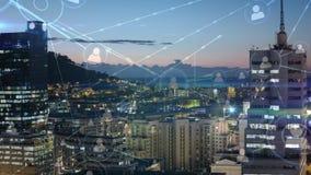 Vogelperspektive der Stadt und Netz von Leuten lizenzfreie abbildung