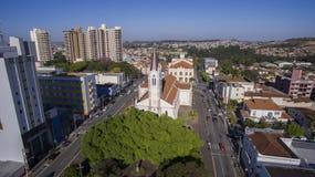 Vogelperspektive der Stadt von Sao Joao da Boa Vista in Sao Paulo-St. lizenzfreies stockbild