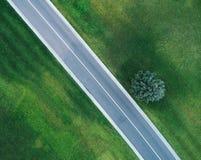 Vogelperspektive der Straße durch schönes grünes Feld Lizenzfreies Stockfoto