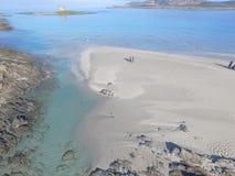 Vogelperspektive, der Strand in Sardinien, haarscharfes Wasser, Italien Lizenzfreie Stockfotos