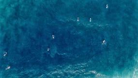 Vogelperspektive der Surferschwimmens an Bord nahen enormen blauen Ozean wav Lizenzfreie Stockfotografie