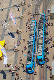 Vogelperspektive der Tram-Station Stockfoto