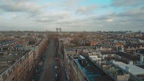Vogelperspektive der typischen Straße in Amsterdam, die Niederlande Stockfoto