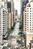 Vogelperspektive der 59. und 60. Straße von Manhattan Stockfotos