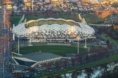 Vogelperspektive des AAMI-Parkfußball- und -Rugbystadions Stockbild