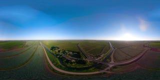 Vogelperspektive des Ackerlands VR360 stock video