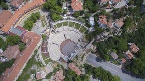 Vogelperspektive des alten römischen Theaters in Plowdiw, Bulgarien stockfotos