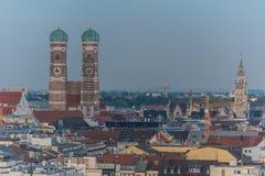 Vogelperspektive des alten Stadtbereichs in München Stockfoto
