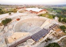 Vogelperspektive des alten Theaters von Kourion Stockbild