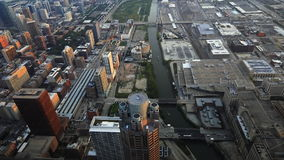 Vogelperspektive des Chicago River Bereichs stock footage