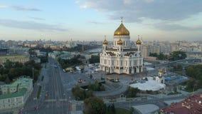 Vogelperspektive des Christus die Retter-Kathedrale in Moskau stock video