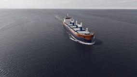 Vogelperspektive des Containerschiffsegelns im Meer Lizenzfreie Stockfotos