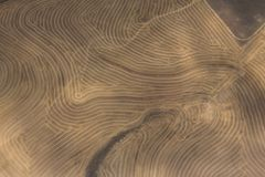 Vogelperspektive des Dürre getroffenen bebauten Ackerlands Lizenzfreies Stockbild