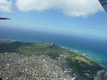 Vogelperspektive des Diamantkopfkraters Hawaii lizenzfreies stockfoto