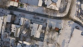Vogelperspektive des Dnipro-Stadt-Dachspitzenpatios Winter-Stadtbild-Hintergrund stock footage