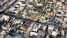 Vogelperspektive des Dnipro-Stadt-Dachspitzenpatios Winter-Stadtbild-Hintergrund stock video footage