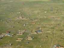 Vogelperspektive des Dorfs in Süd-Sudan Stockbild